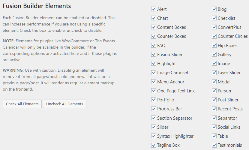 禁用Avada主题中未使用的元素