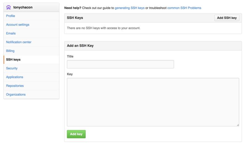 ``SSH keys''链接。