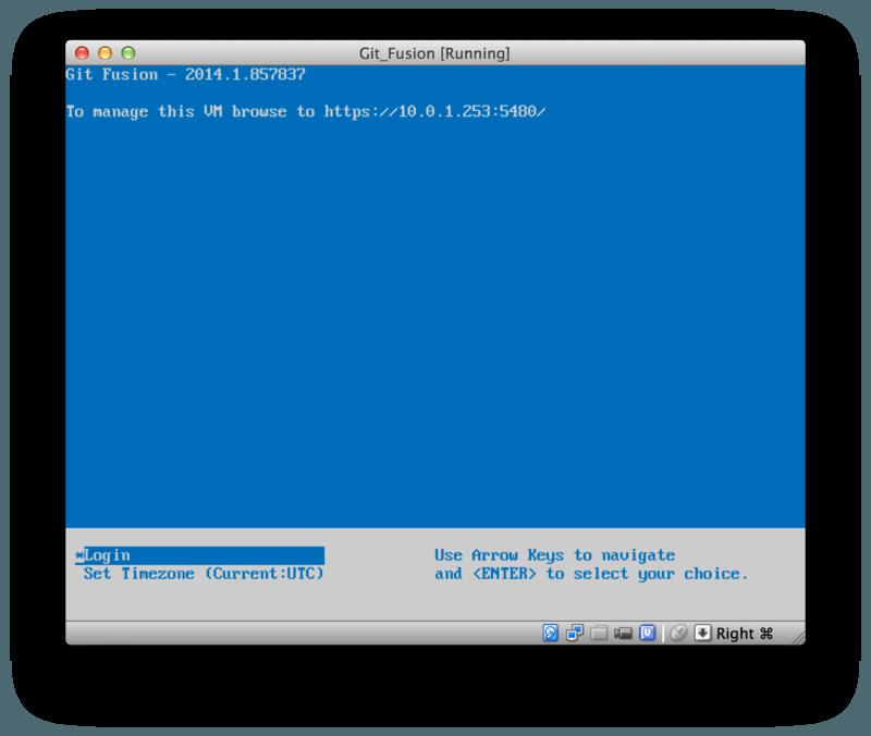 Git Fusion 虚拟机启动屏幕。
