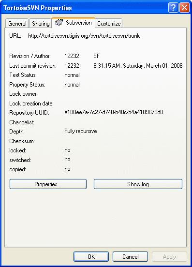 资源管理器属性页,Subversion 页面